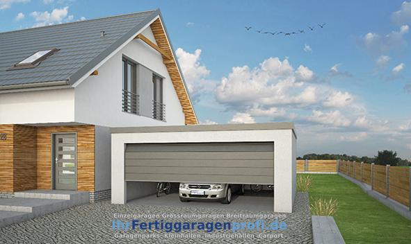 Doppelgarage pultdach  Fertiggaragenprofi - Breitraumgarage Einzel-, Doppelgarage